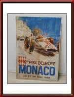 Vintage Original 1963 Monaco Grand Prix Poster Counter Top