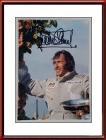Autographed 1973 Photo of a Victorious Jackie Stewart Grand Prix Belgium at Spa Francorchamps on Tyrrell